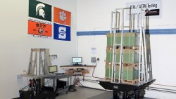 Image of an ISTA/ASTM testing rig.